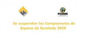 Se suspenden los Campeonatos de España de Escalada 2020