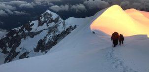 Un guía de montaña en el Mont Blanc